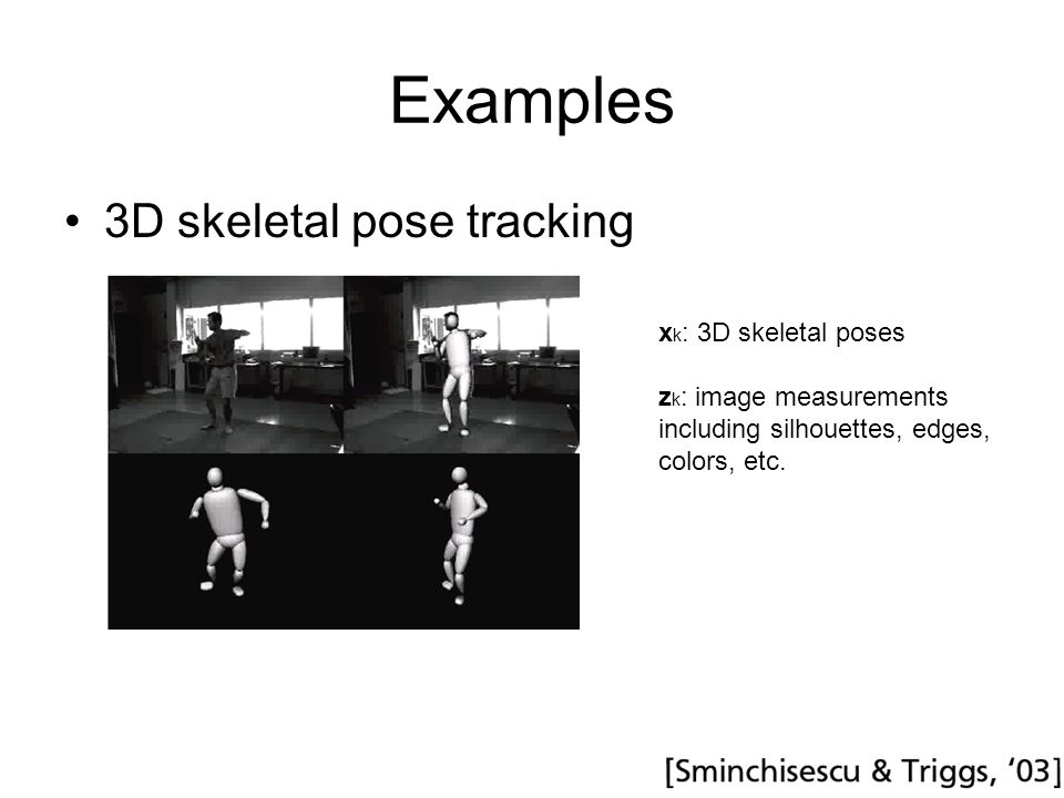 Examples 3D skeletal pose tracking x k : 3D skeletal poses z k : image measurements including silhouettes, edges, colors, etc.