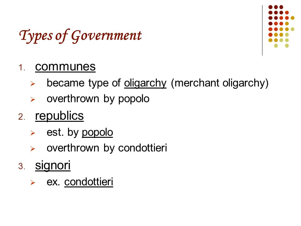 Types of Government 1.