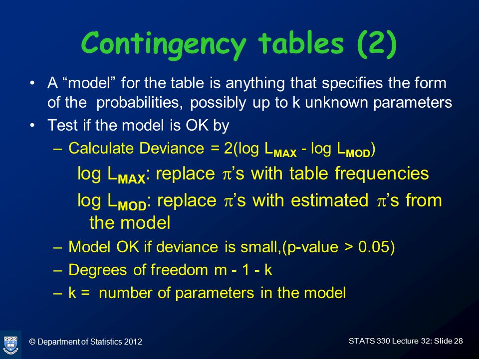 © Department of Statistics 2012 STATS 330 Lecture 32: Slide 28 Contingency tables (2) A model for the table is anything that specifies the form of the probabilities, possibly up to k unknown parameters Test if the model is OK by –Calculate Deviance = 2(log L MAX - log L MOD ) log L MAX : replace  's with table frequencies log L MOD : replace  's with estimated  's from the model –Model OK if deviance is small,(p-value > 0.05) –Degrees of freedom m - 1 - k –k = number of parameters in the model