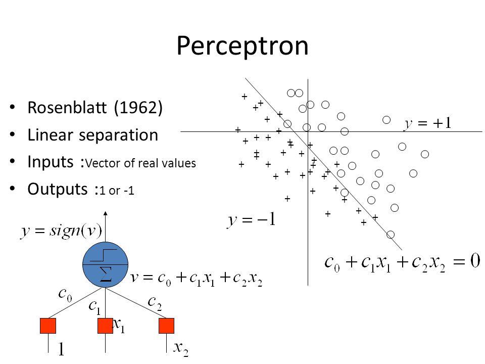 Perceptron Rosenblatt (1962) Linear separation Inputs : Vector of real values Outputs : 1 or -1 + + + + + + + + + + ++ + + + + + + + + + + + + + + + +