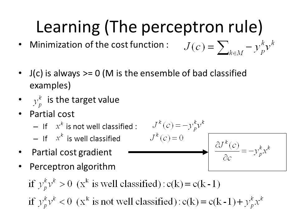 Learning (The perceptron rule) Minimization of the cost function : J(c) is always >= 0 (M is the ensemble of bad classified examples) is the target va