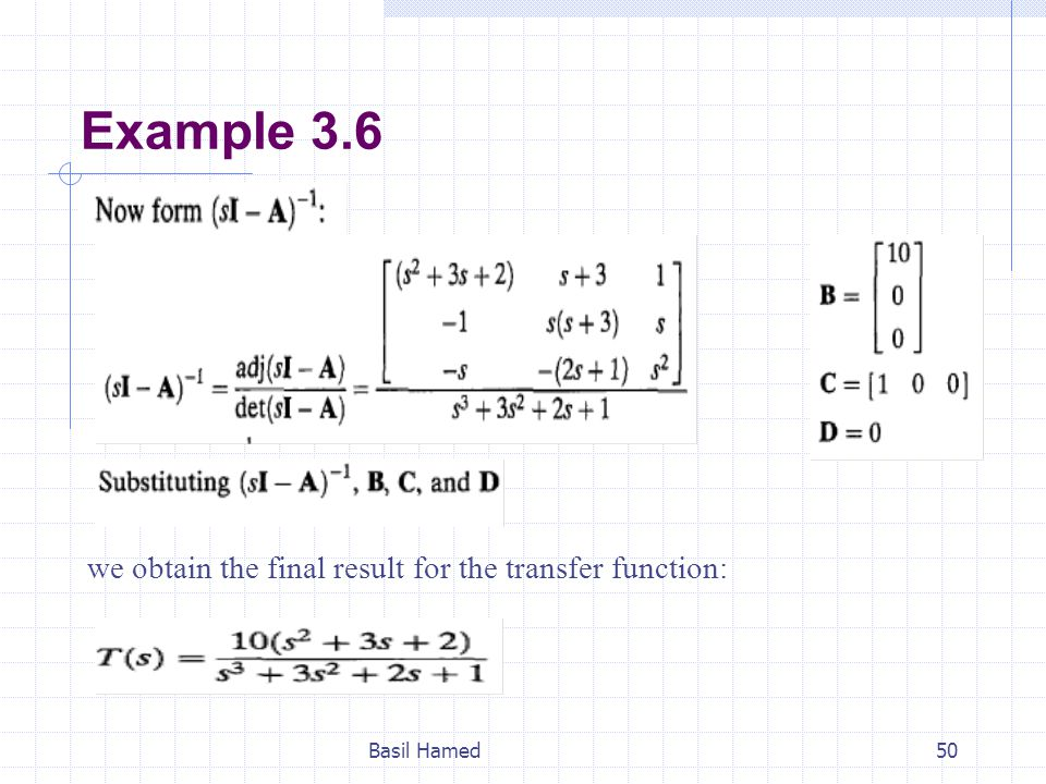 Example 3.6 Basil Hamed50 we obtain the final result for the transfer function: