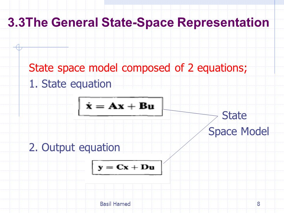 3.3The General State-Space Representation State space model composed of 2 equations; 1. State equation State Space Model 2. Output equation Basil Hame