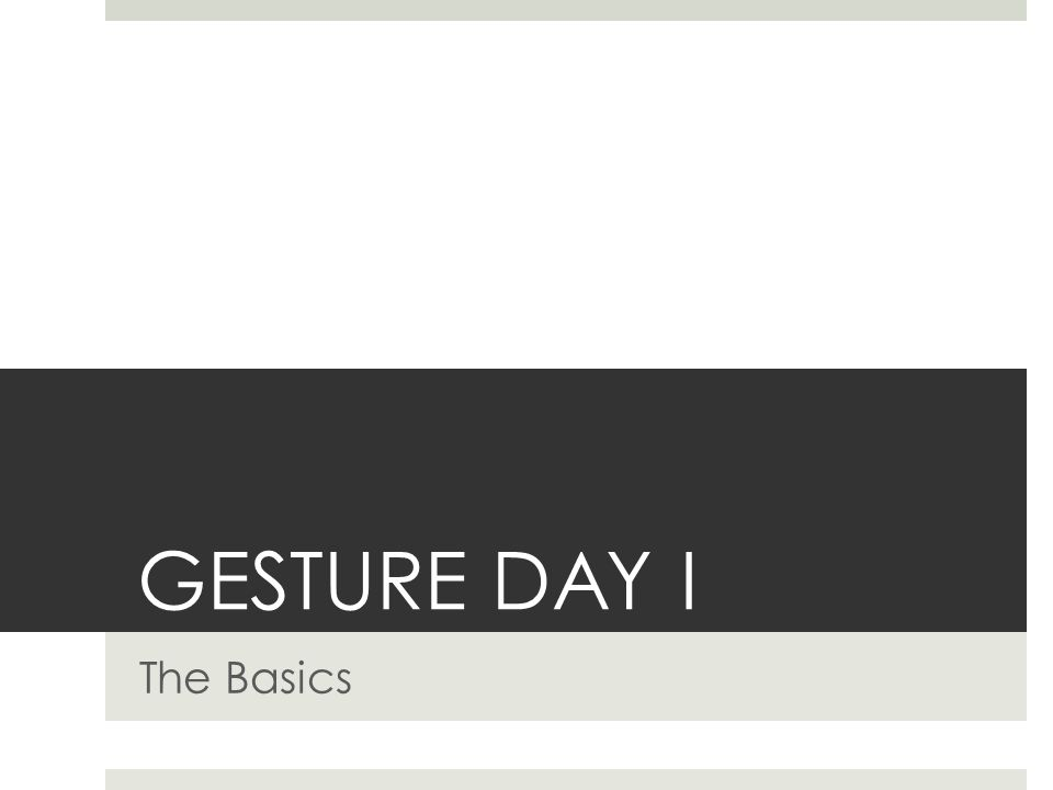 GESTURE DAY I The Basics
