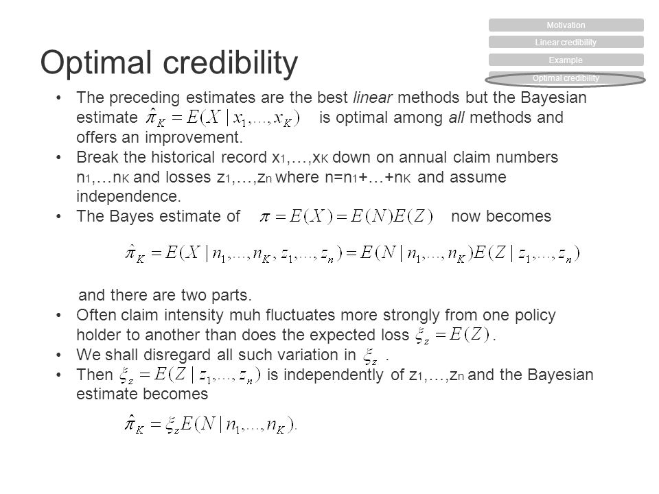 The preceding estimates are the best linear methods but the Bayesian estimateis optimal among all methods and offers an improvement. Break the histori