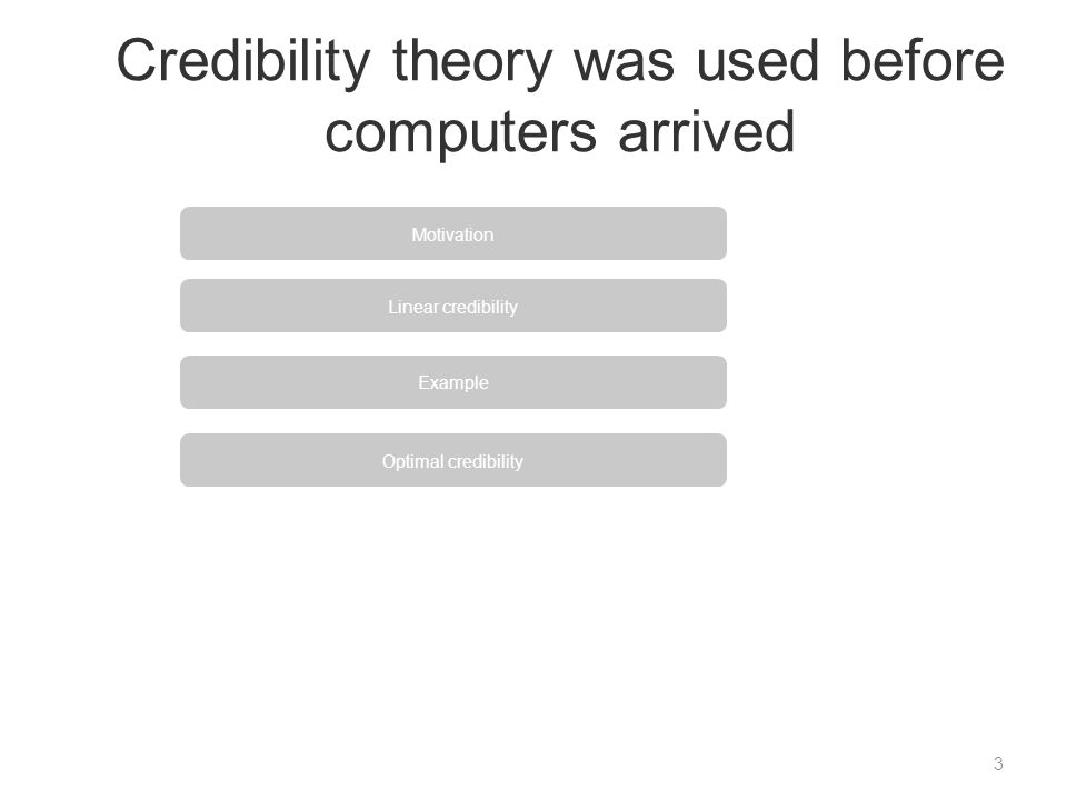 Credibility theory was used before computers arrived 3 Motivation Linear credibility Example Optimal credibility