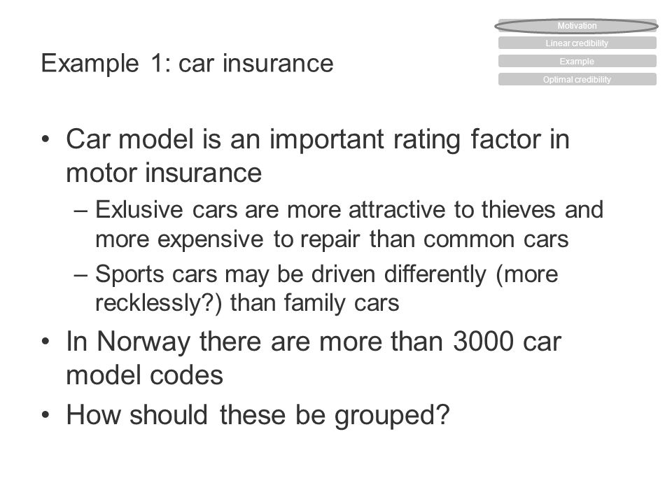 Example 1: car insurance Car model is an important rating factor in motor insurance –Exlusive cars are more attractive to thieves and more expensive to repair than common cars –Sports cars may be driven differently (more recklessly ) than family cars In Norway there are more than 3000 car model codes How should these be grouped.