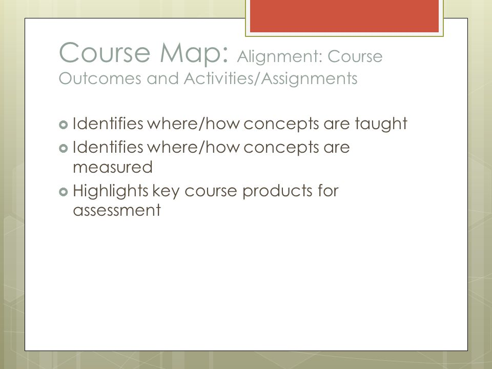 Course Map: Alignment: Course Outcomes and Activities/Assignments  Identifies where/how concepts are taught  Identifies where/how concepts are measured  Highlights key course products for assessment