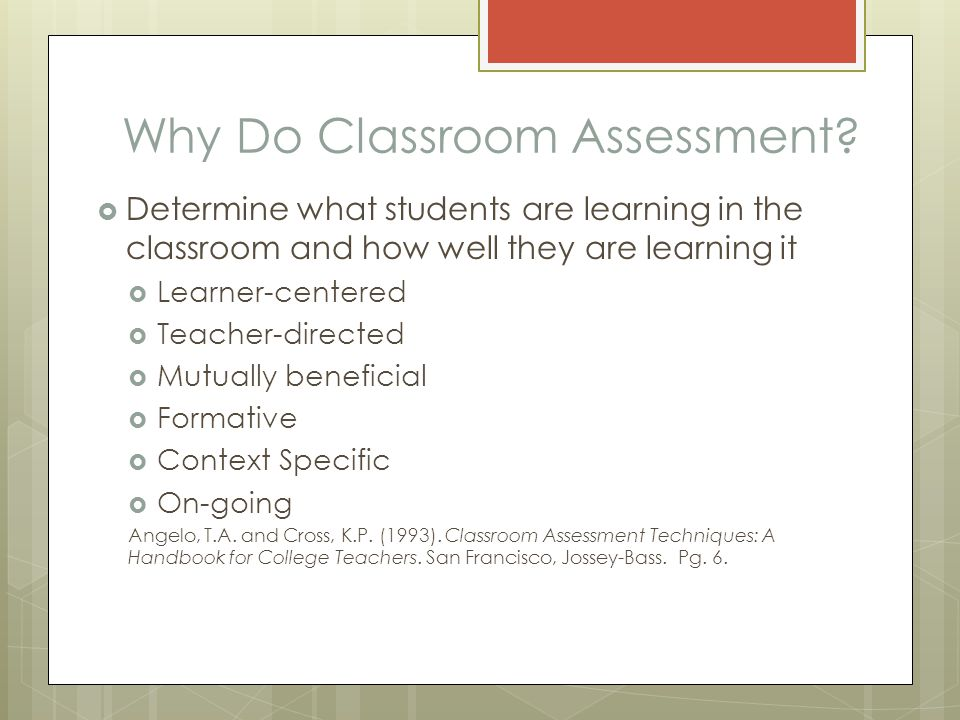 Why Do Classroom Assessment.