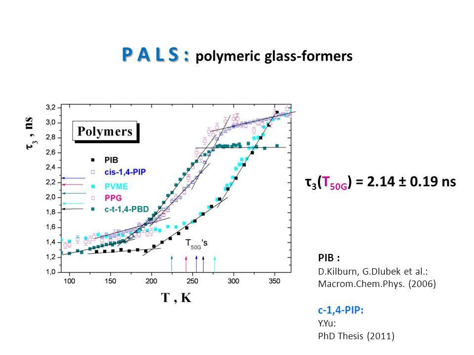 P A L S : P A L S : polymeric glass-formers τ 3 (T 50G ) = 2.14 ± 0.19 ns PIB : D.Kilburn, G.Dlubek et al.: Macrom.Chem.Phys. (2006) c-1,4-PIP: Y.Yu: