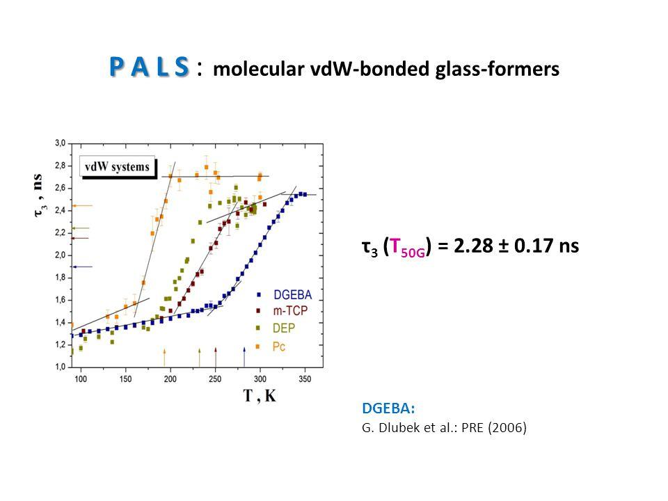 P A L S P A L S : molecular vdW-bonded glass-formers τ 3 (T 50G ) = 2.28 ± 0.17 ns DGEBA: G. Dlubek et al.: PRE (2006)