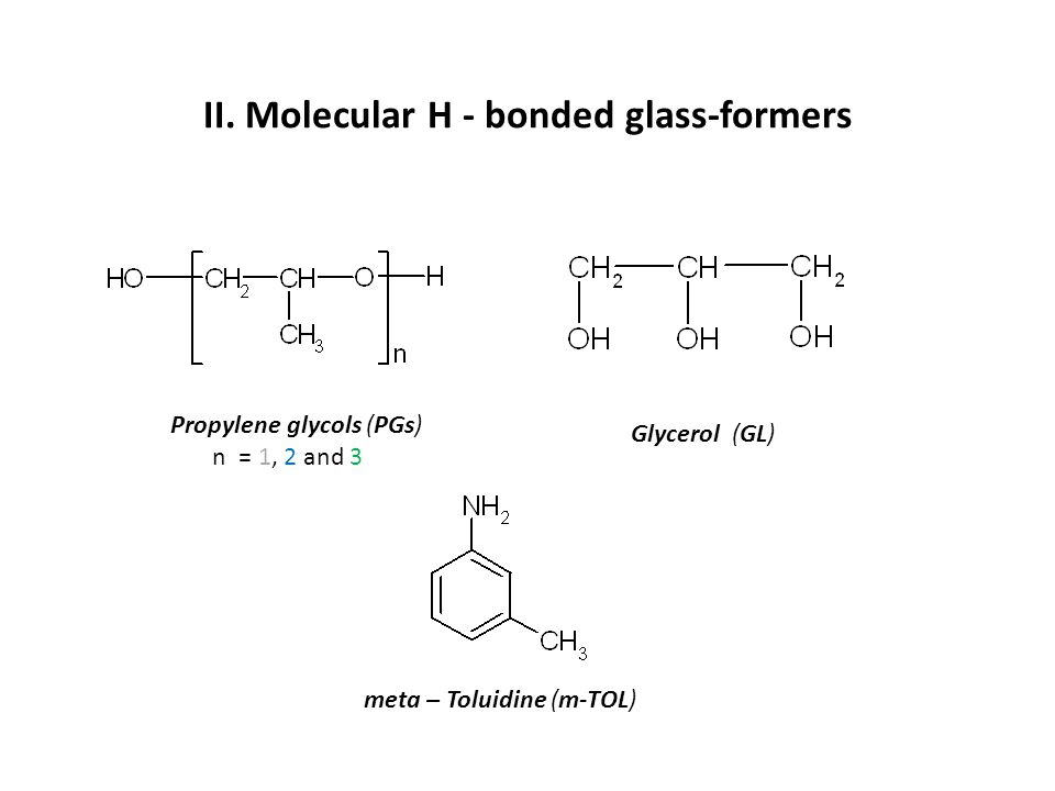 E S R E S R : molecular H-bonded glass-formers ---------------------------------------------- System T g, K T 50G,K T 50G /T g ---------------------------------------------------------------------- PG 172 248 1.44 DPG 189 250 1.32 TPG 186 247 1.33 m-TOL 187 239 1.28 GL 190 283 1.49 ---------------------------------------------- Empirical findings: 1) T 50G > T g and 2) T 50G  (1.3– 1.5) T g T 50G