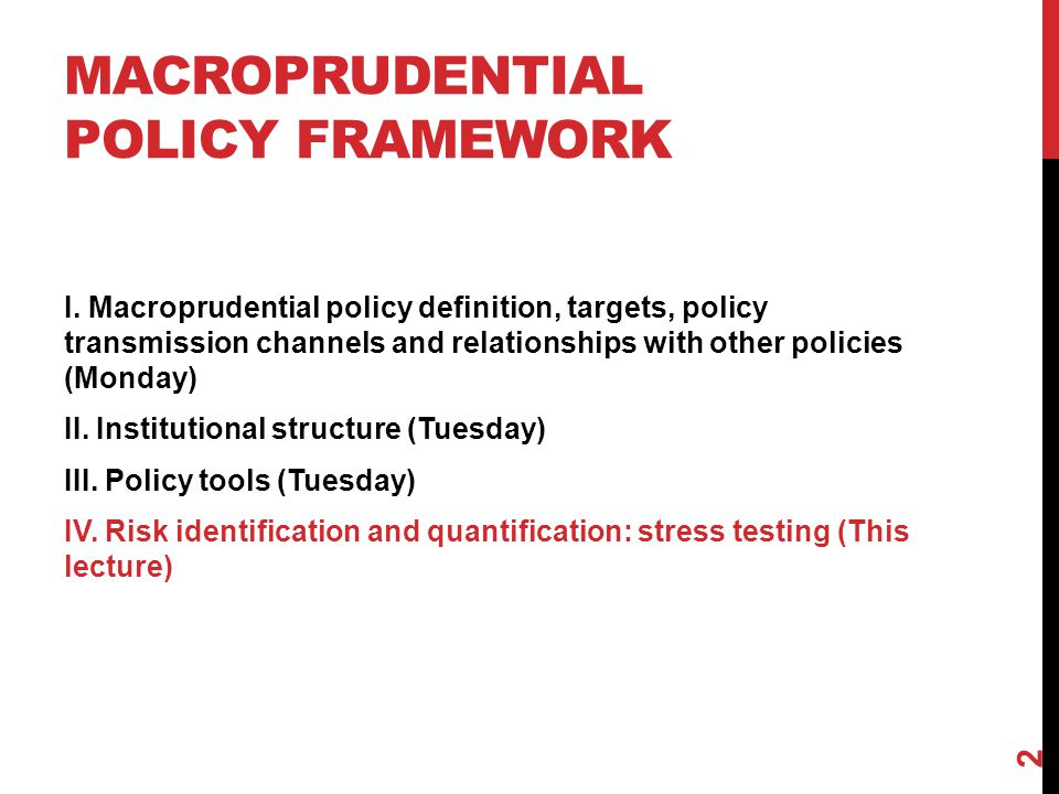 MACROPRUDENTIAL POLICY FRAMEWORK I. Macroprudential policy definition, targets, policy transmission channels and relationships with other policies (Mo