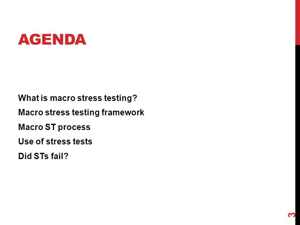 AGENDA What is macro stress testing? Macro stress testing framework Macro ST process Use of stress tests Did STs fail? 3