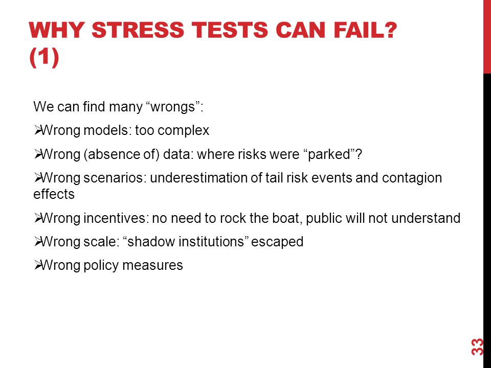 """WHY STRESS TESTS CAN FAIL? (1) We can find many """"wrongs"""":  Wrong models: too complex  Wrong (absence of) data: where risks were """"parked""""?  Wrong sc"""