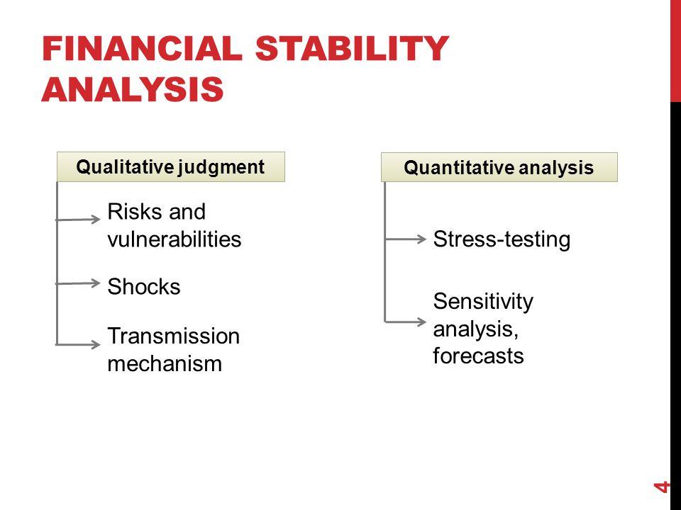 FINANCIAL STABILITY ANALYSIS Quantitative analysis 4 Qualitative judgment Risks and vulnerabilities Shocks Transmission mechanism Stress-testing Sensi