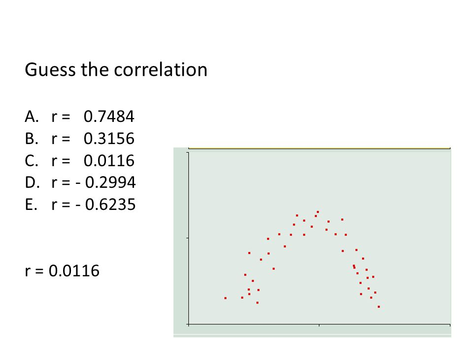 Guess the correlation A.r = 0.7484 B.r = 0.3156 C.r = 0.0116 D.r = - 0.2994 E.r = - 0.6235 r = 0.0116