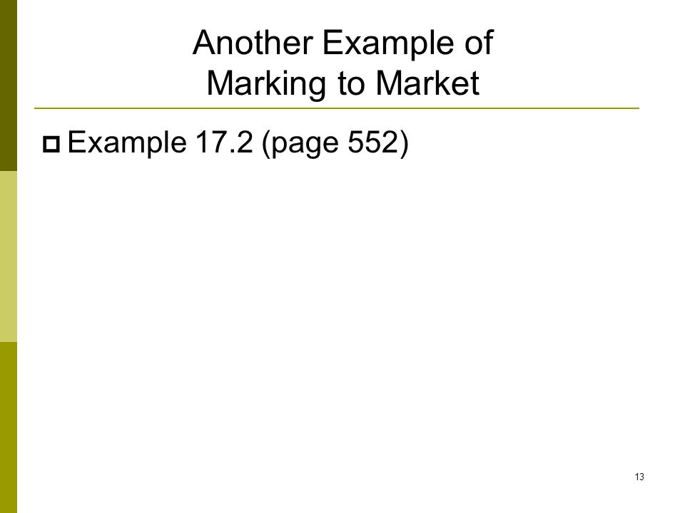 Another Example of Marking to Market  Example 17.2 (page 552) 13