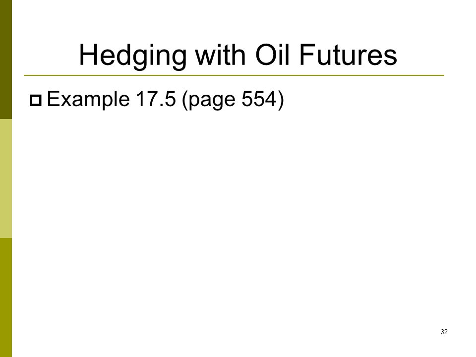 Hedging with Oil Futures  Example 17.5 (page 554) 32