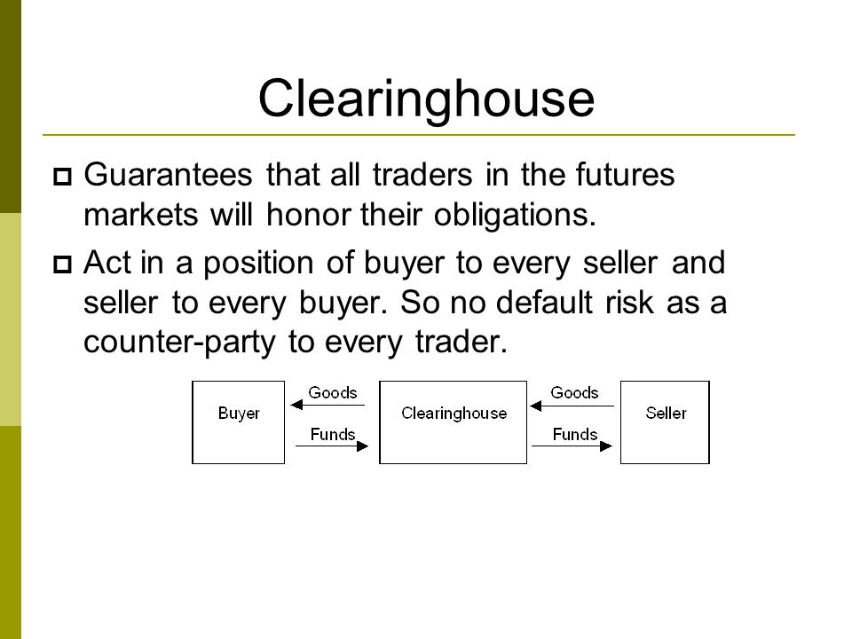 Clearinghouse  Guarantees that all traders in the futures markets will honor their obligations.  Act in a position of buyer to every seller and sell