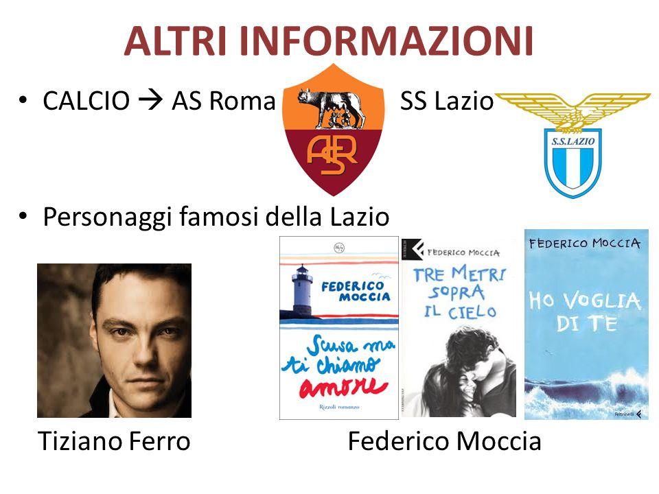 ALTRI INFORMAZIONI CALCIO  AS Roma SS Lazio Personaggi famosi della Lazio Tiziano FerroFederico Moccia