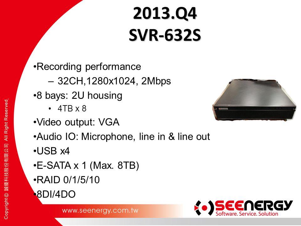 2013.Q4 SVR-632S Recording performance –32CH,1280x1024, 2Mbps 8 bays: 2U housing 4TB x 8 Video output: VGA Audio IO: Microphone, line in & line out USB x4 E-SATA x 1 (Max.