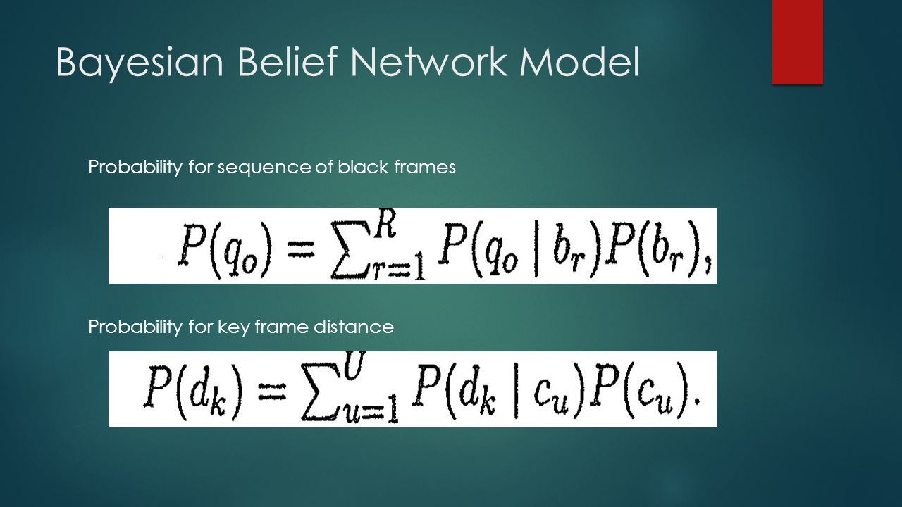 Bayesian Belief Network Model Probability for sequence of black frames Probability for key frame distance