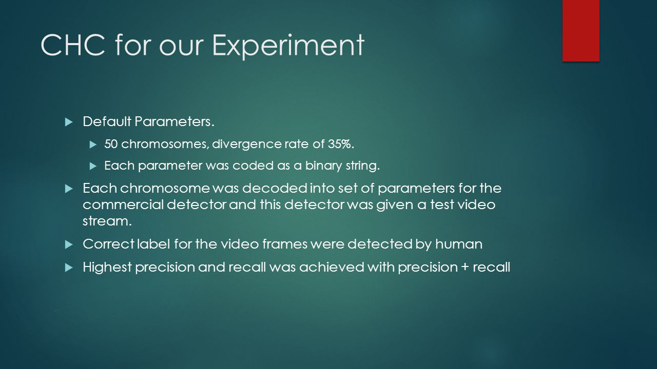 CHC for our Experiment  Default Parameters.  50 chromosomes, divergence rate of 35%.