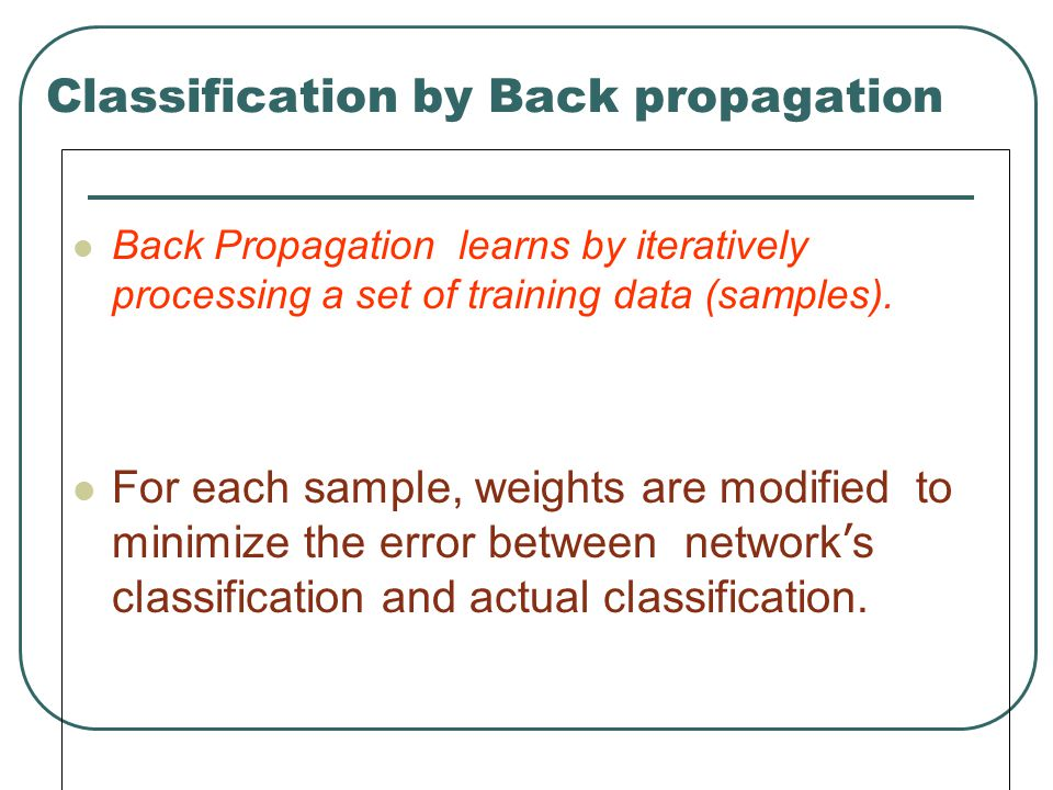 Classification by Back propagation Back Propagation learns by iteratively processing a set of training data (samples). For each sample, weights are mo