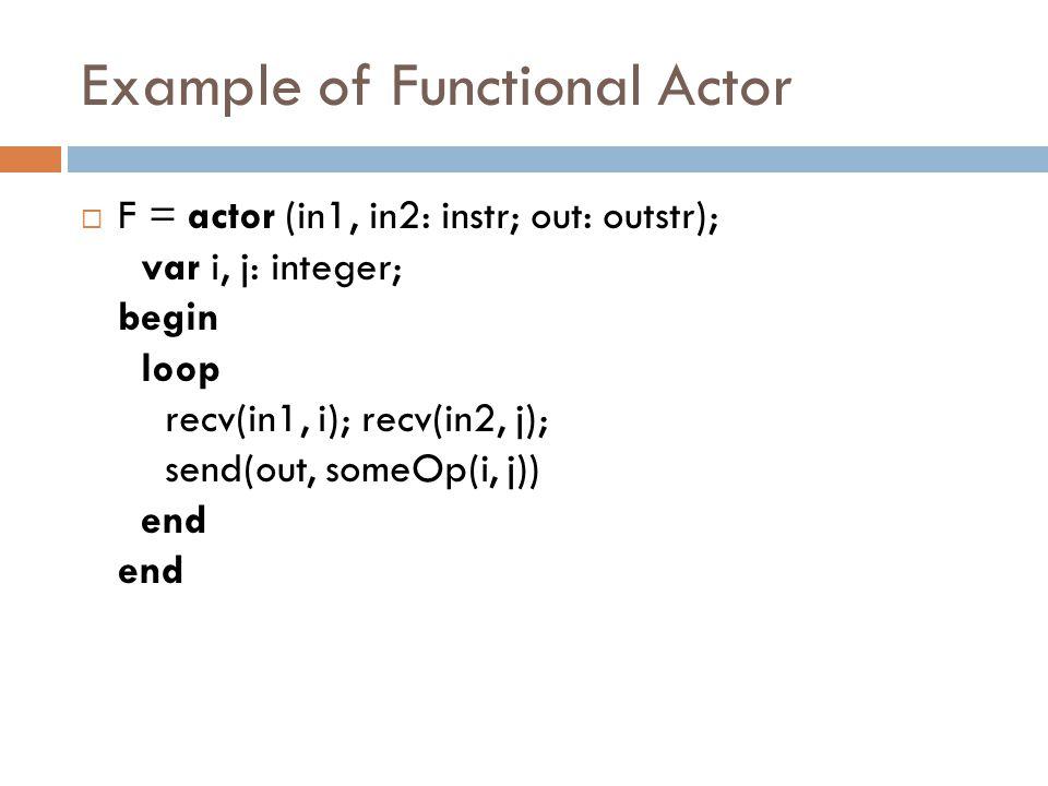 Example of Functional Actor  F = actor (in1, in2: instr; out: outstr); var i, j: integer; begin loop recv(in1, i); recv(in2, j); send(out, someOp(i, j)) end end