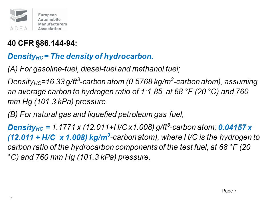 7 40 CFR §86.144-94: Density HC = The density of hydrocarbon.