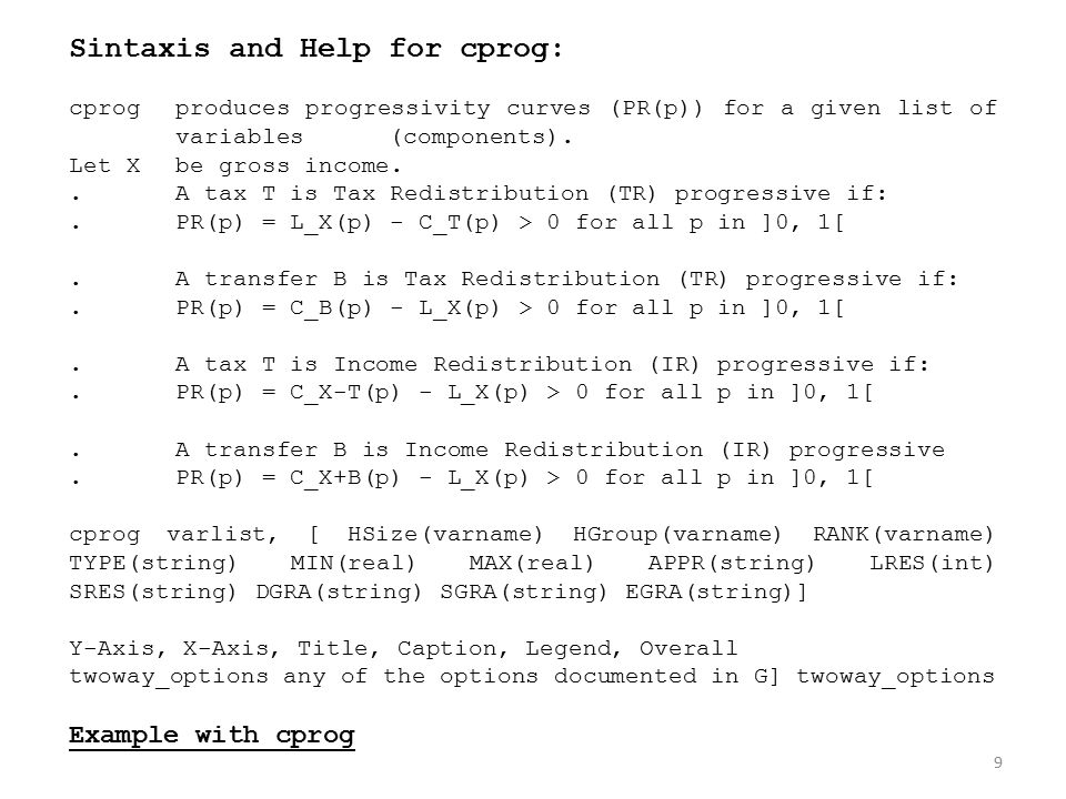 Sintaxis and Help for cprog: cprogproduces progressivity curves (PR(p)) for a given list of variables(components).
