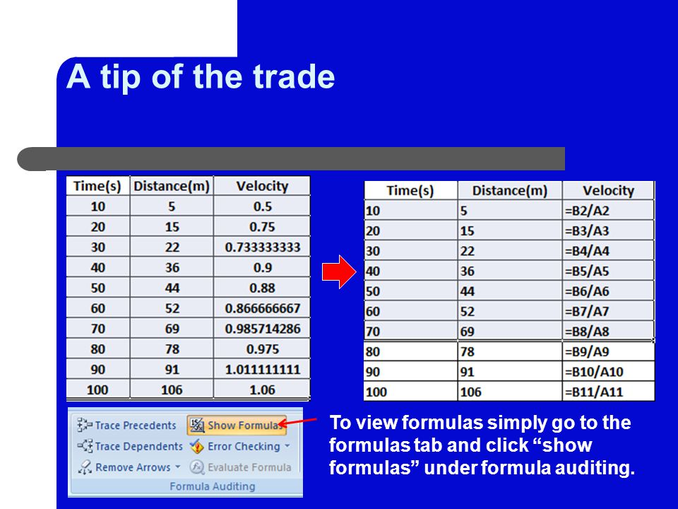 A tip of the trade To view formulas simply go to the formulas tab and click show formulas under formula auditing.