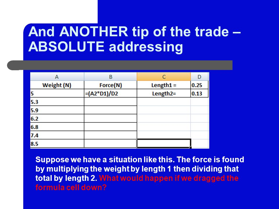 And ANOTHER tip of the trade – ABSOLUTE addressing Suppose we have a situation like this.