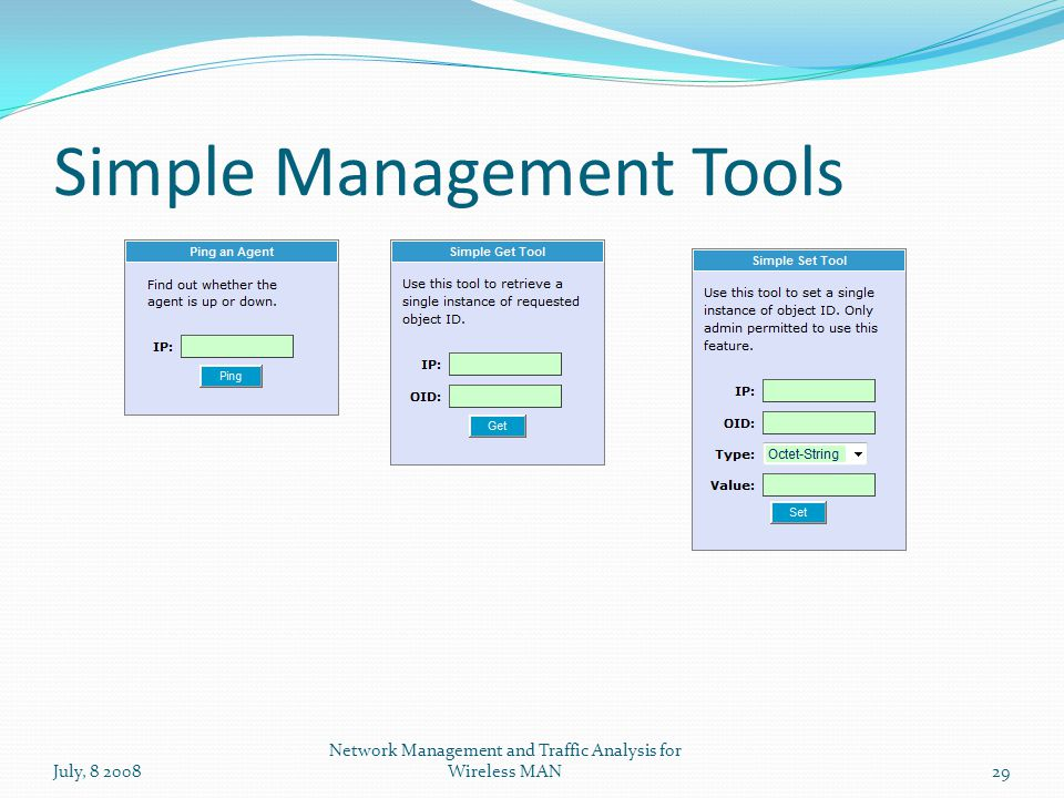 Simple Management Tools July, 8 200829 Network Management and Traffic Analysis for Wireless MAN