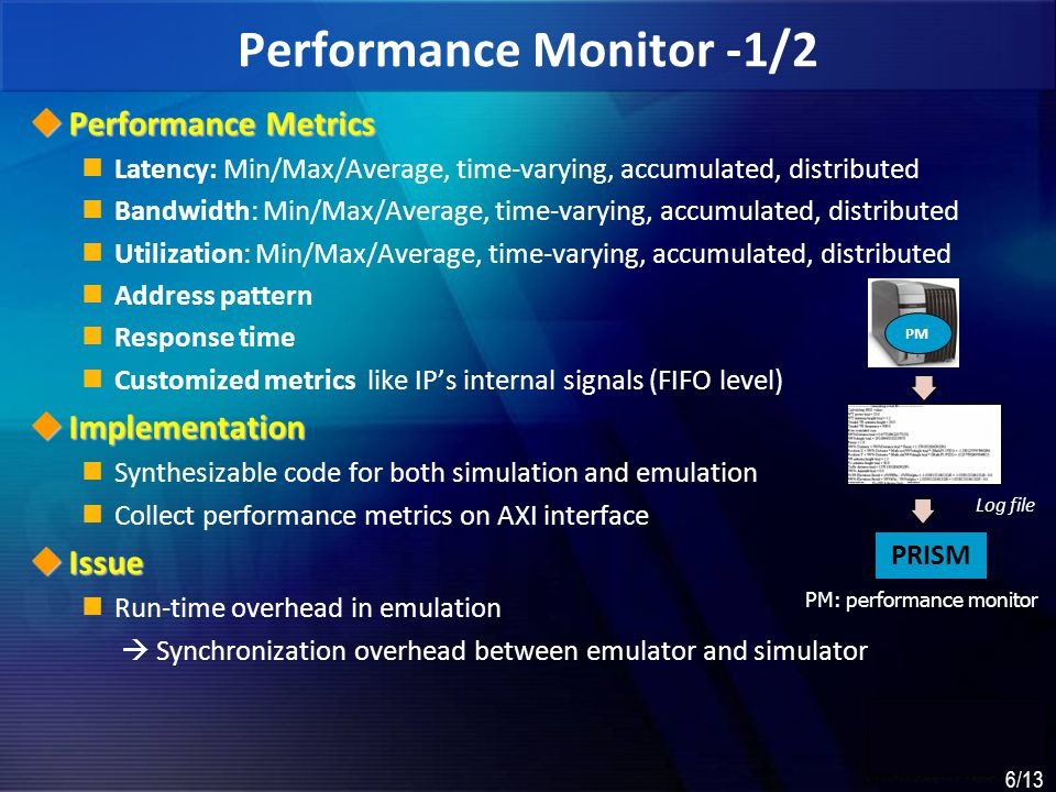 7 7/13 Performance Monitor – 2/2  Experiments PV results should be recorded in-order Many experiments are done to reduce run-time overhead  GFIFO Transactions are collected in order, it is congruent with the SW simulation Parallel execution of monitor transaction in SW  Improve performance bit a; bit [5:0] b; int c; function void my_mon(bit x1, bit [5:0] x2, int x3); $fdisplay( %d %d %d , x1, x2, x3); endfunction; initial $ixc_ctrl( gfifo , my_mon ); always @(clk) begin my_mon(a, b, c) end bit a; bit [5:0] b; int c; always @(clk) begin $fdisplay ( %d %d %d , a, b, c); end MethodDescriptiontbcall syncOverhead No PV MonitorBaseline398- $displaySync with TB using $fdisplay()32,79881X GFIFOBuffering monitored transaction Collecting process in back ground 4721.12X Simulation Monitor GFIFO