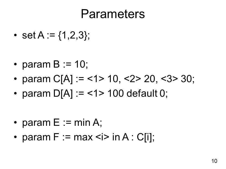 Parameters set A := {1,2,3}; param B := 10; param C[A] := 10, 20, 30; param D[A] := 100 default 0; param E := min A; param F := max in A : C[i]; 10