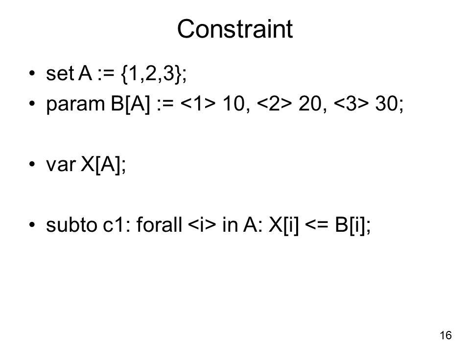 Constraint set A := {1,2,3}; param B[A] := 10, 20, 30; var X[A]; subto c1: forall in A: X[i] <= B[i]; 16
