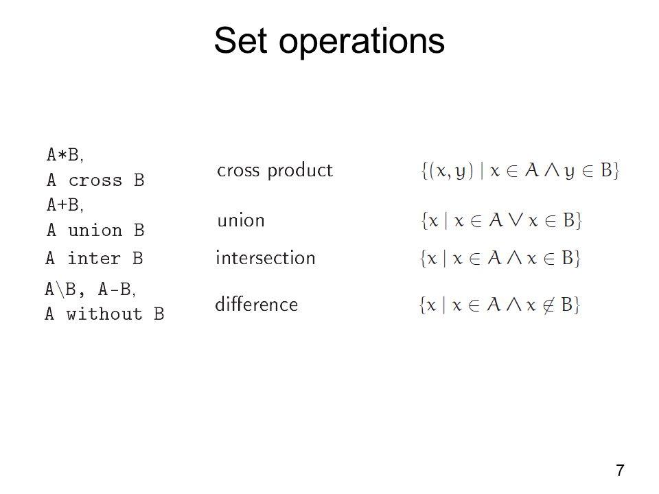 Set operations 7