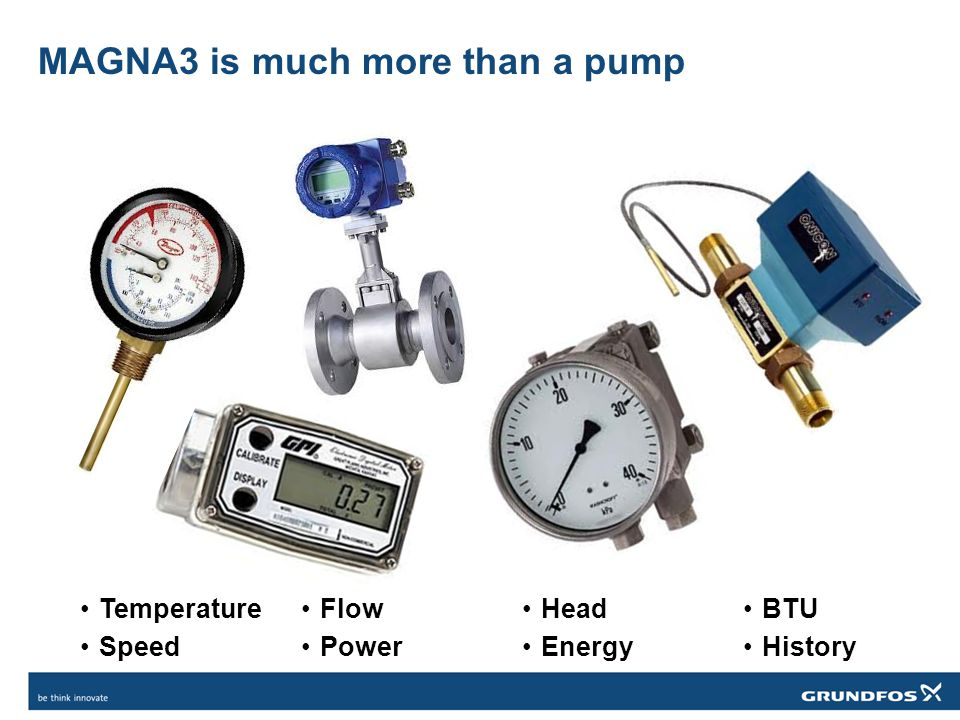 MAGNA3 is much more than a pump Temperature Speed Flow Power Head Energy BTU History