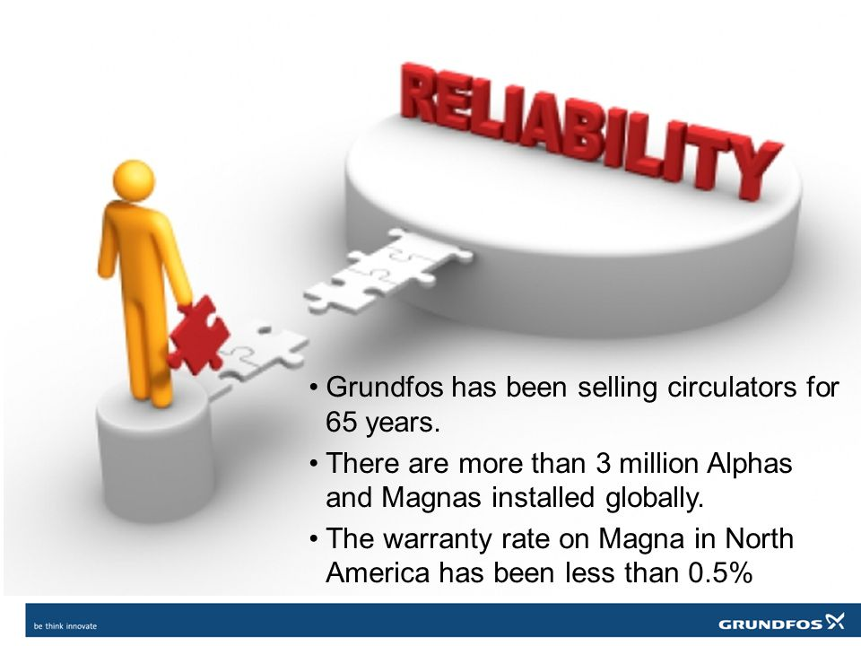 Grundfos has been selling circulators for 65 years. There are more than 3 million Alphas and Magnas installed globally. The warranty rate on Magna in