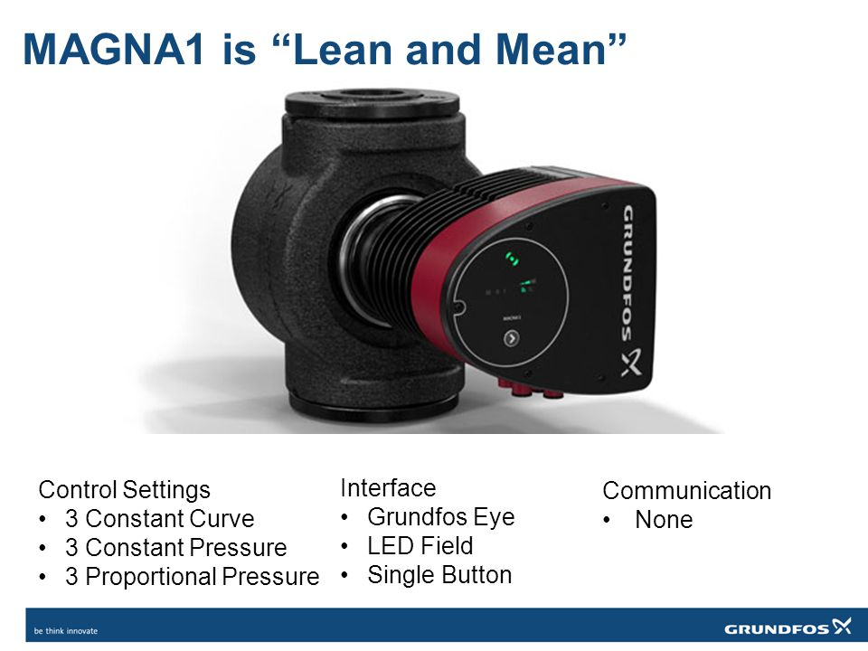 """MAGNA1 is """"Lean and Mean"""" Control Settings 3 Constant Curve 3 Constant Pressure 3 Proportional Pressure Interface Grundfos Eye LED Field Single Button"""