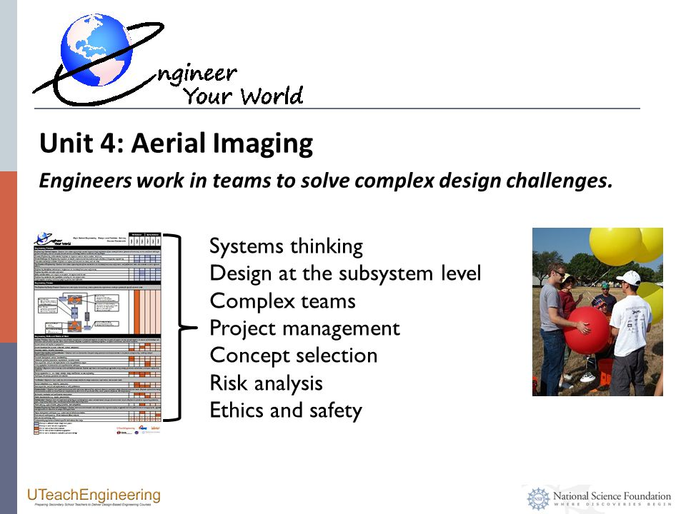 Unit 4: Aerial Imaging Engineers work in teams to solve complex design challenges.
