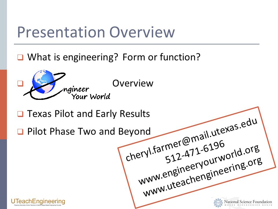 Presentation Overview  What is engineering. Form or function.