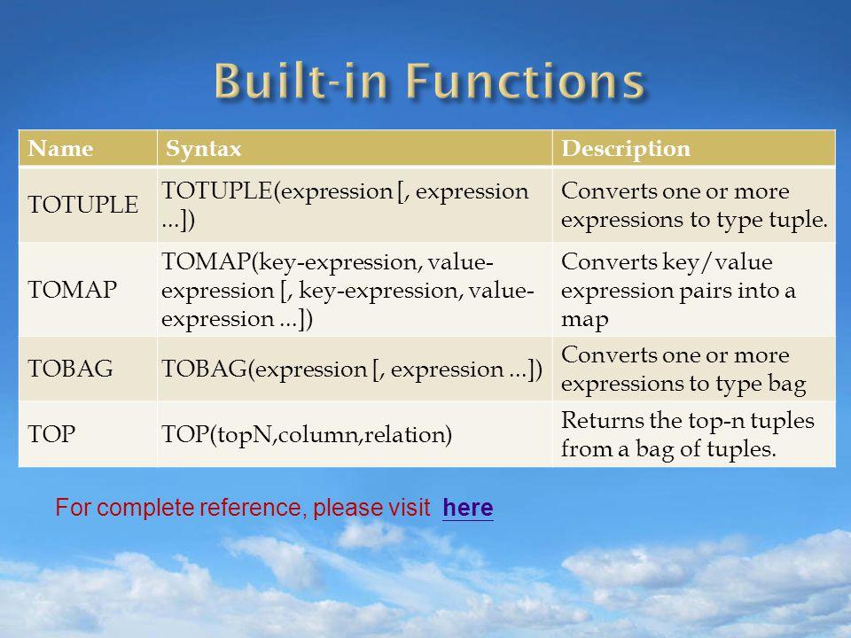 NameSyntaxDescription TOTUPLE TOTUPLE(expression [, expression...]) Converts one or more expressions to type tuple.