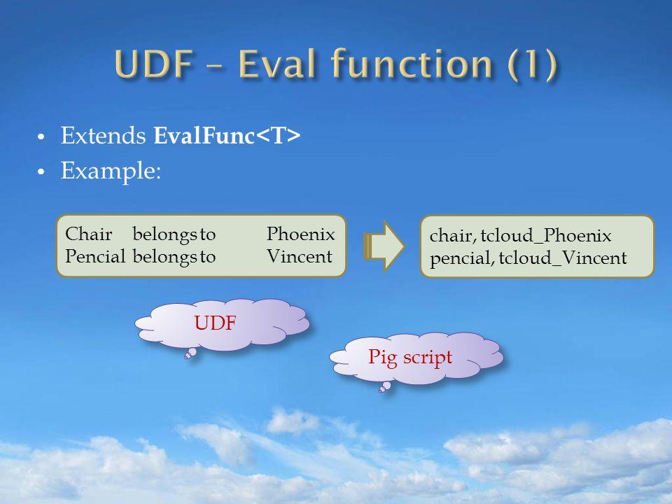 Extends EvalFunc Example: ChairbelongstoPhoenix PencialbelongstoVincent chair, tcloud_Phoenix pencial, tcloud_Vincent UDF Pig script
