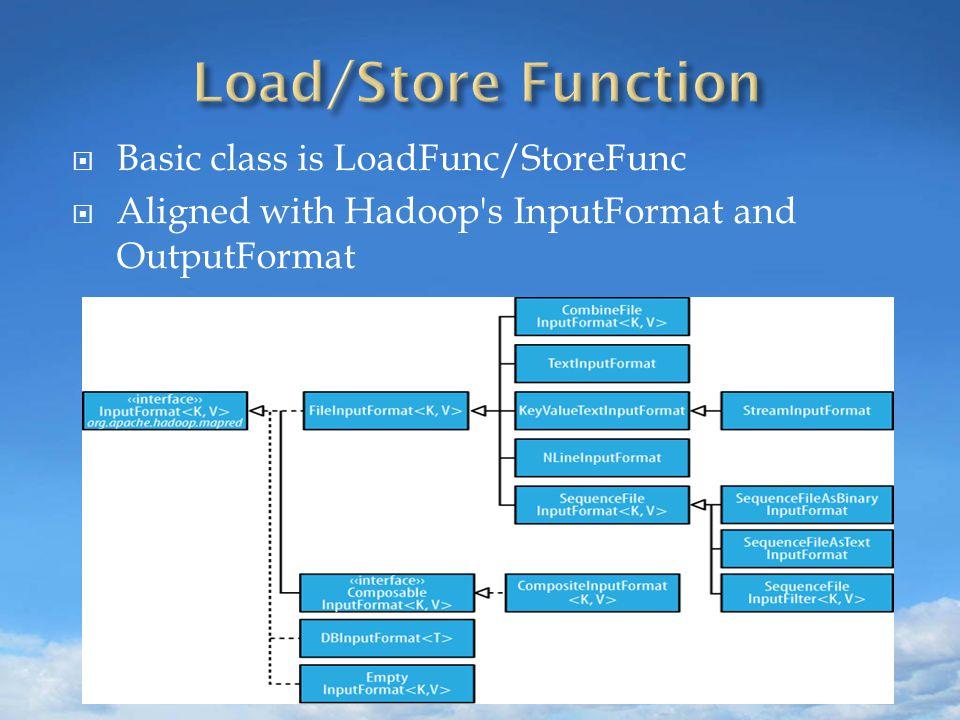 Basic class is LoadFunc/StoreFunc  Aligned with Hadoop s InputFormat and OutputFormat