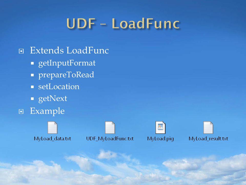  Extends LoadFunc  getInputFormat  prepareToRead  setLocation  getNext  Example