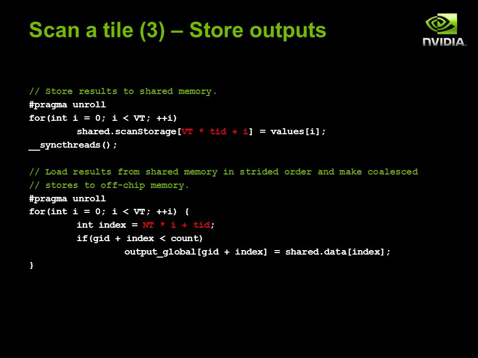 Scan a tile (3) – Store outputs // Store results to shared memory.