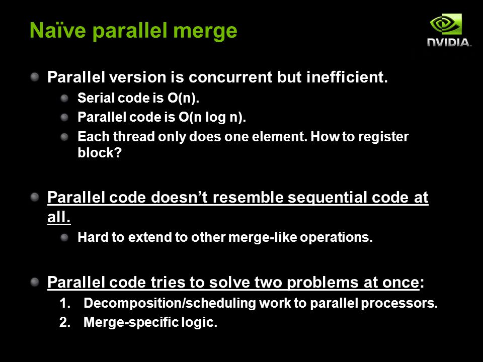 Naïve parallel merge Parallel version is concurrent but inefficient.